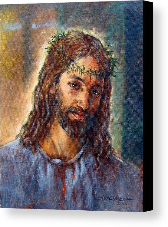 Christ Canvas Print featuring the painting Christ With Thorns by John Lautermilch