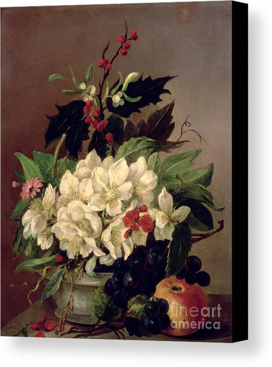 Christmas Canvas Print featuring the painting Christmas Roses by Willem van Leen
