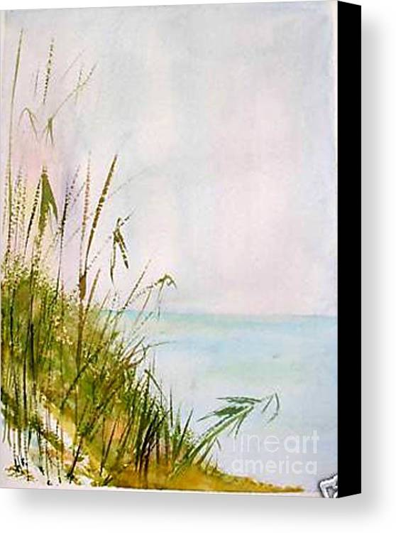 Watercolor Canvas Print featuring the painting Coastal Scene by Sibby S
