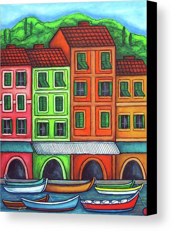 Italy Canvas Print featuring the painting Colours Of Liguria by Lisa Lorenz