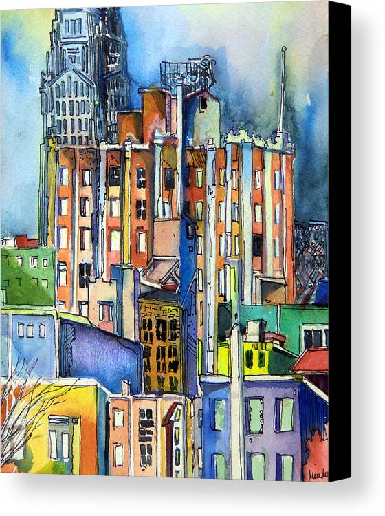 City Canvas Print featuring the painting Columbus Ohio City Lights by Mindy Newman