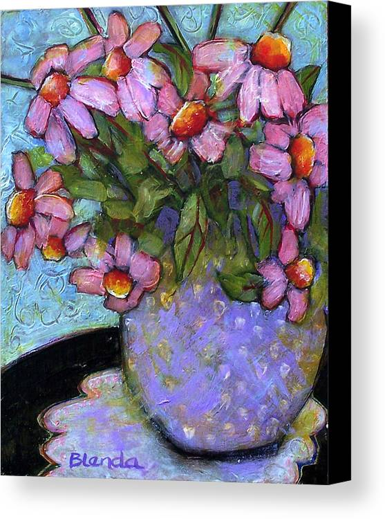 Flowers Canvas Print featuring the painting Coneflowers In Lavender Vase by Blenda Studio