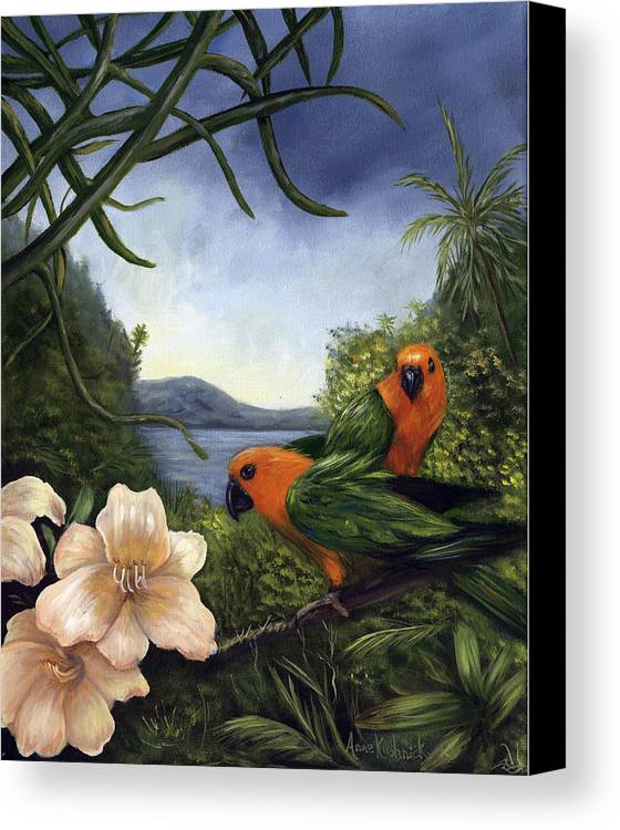 Landscape Canvas Print featuring the painting Conures by Anne Kushnick