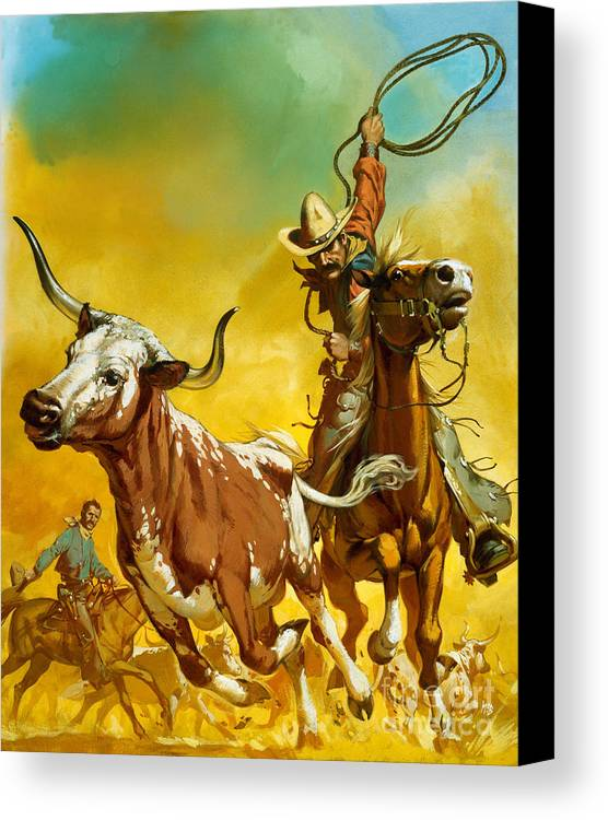 Cowboy Canvas Print featuring the painting Cowboy Lassoing Cattle by Angus McBride