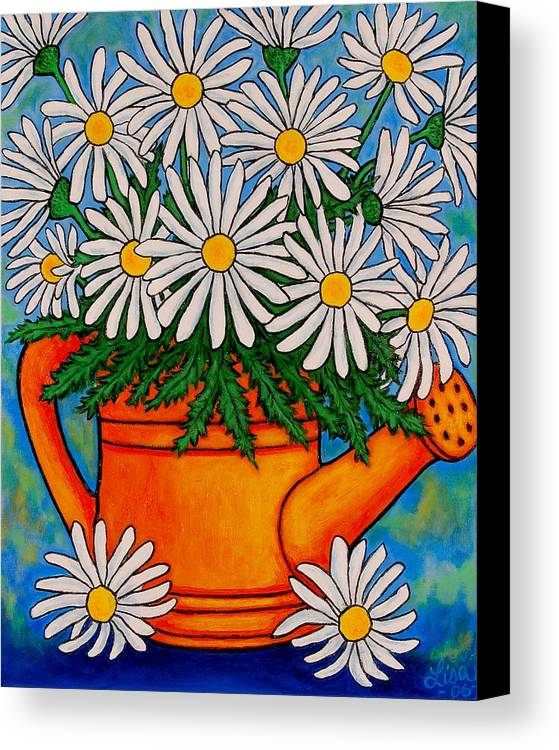 Daisies Canvas Print featuring the painting Crazy For Daisies by Lisa Lorenz