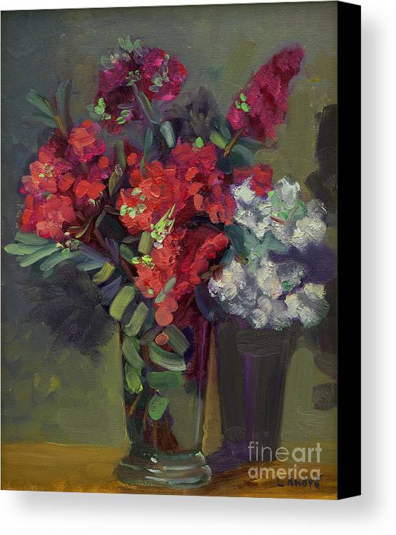 Floral Canvas Print featuring the painting Crepe Myrtles In Glass by Lilibeth Andre
