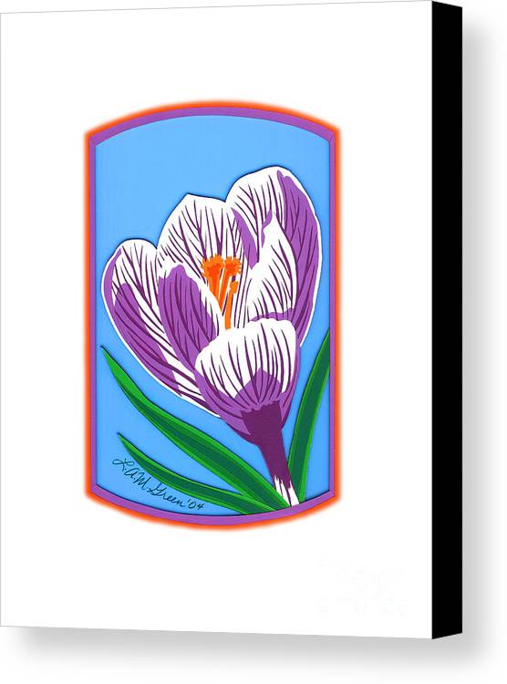 Nature Canvas Print featuring the drawing Crocus Too by Lucyna A M Green