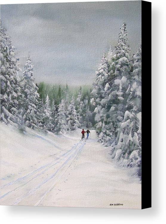 Ski. Skiing Canvas Print featuring the painting Cross Country Skiers by Ken Ahlering
