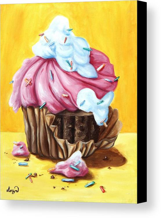 Cupcake Canvas Print featuring the painting Cupcake by Maryn Crawford