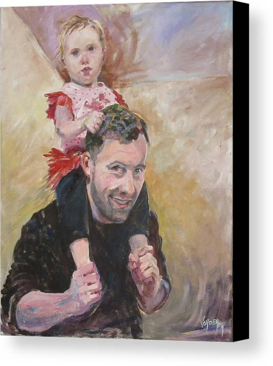 Portrait; Figure; Character Study; Children; Canvas Print featuring the painting Daddy Ride by Linda Vorderer
