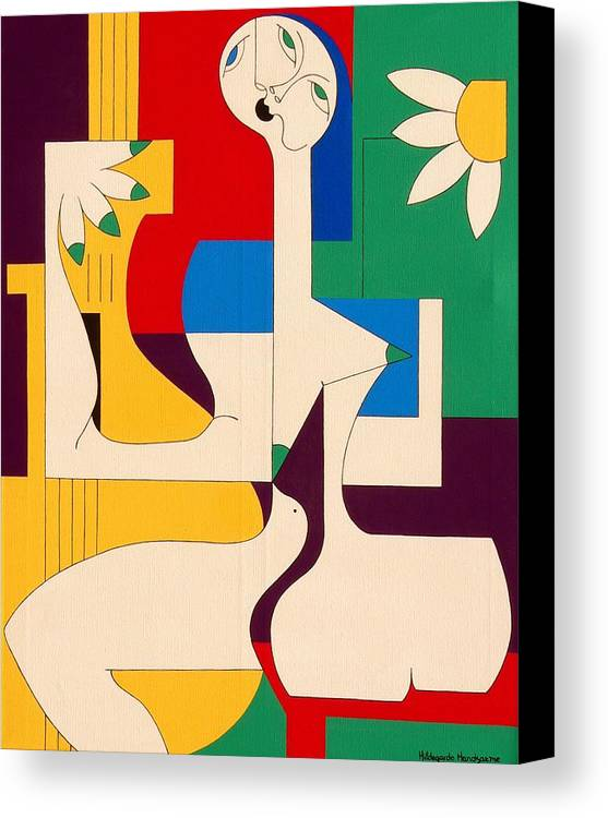 Women Birds Music Guitar Flower Humor Voice Canvas Print featuring the painting De Sopraan by Hildegarde Handsaeme
