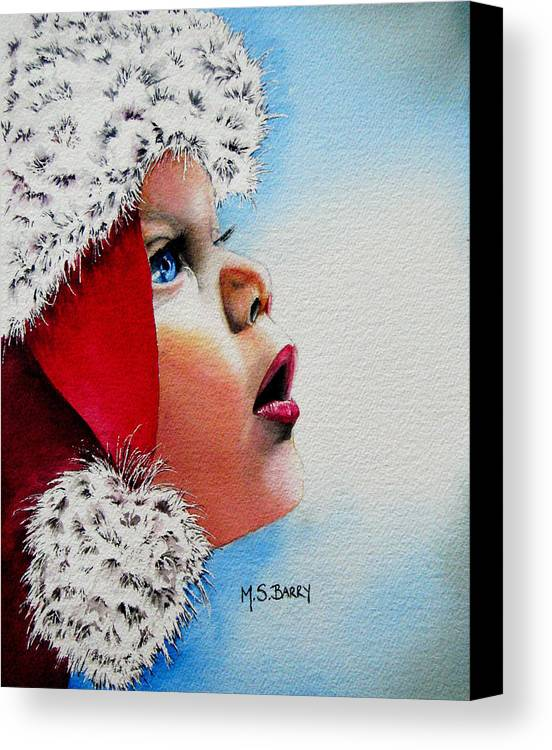 Child Canvas Print featuring the painting Dear Santa by Maria Barry