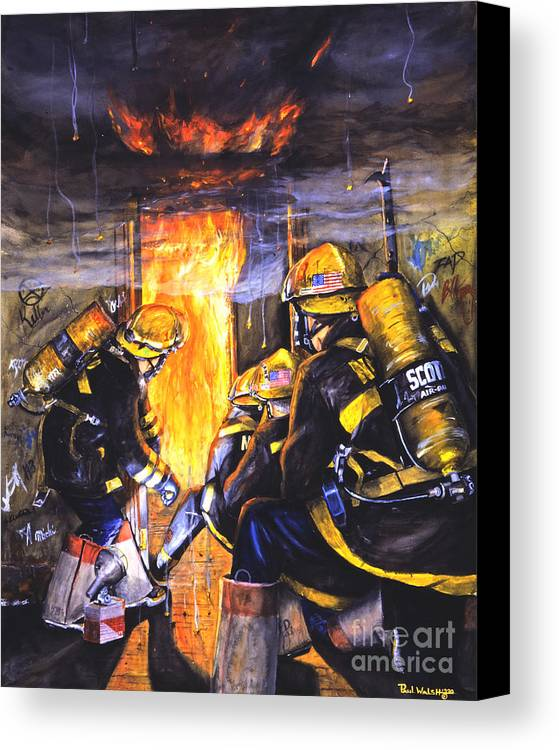 Firefighting Canvas Print featuring the painting Devil's Doorway by Paul Walsh