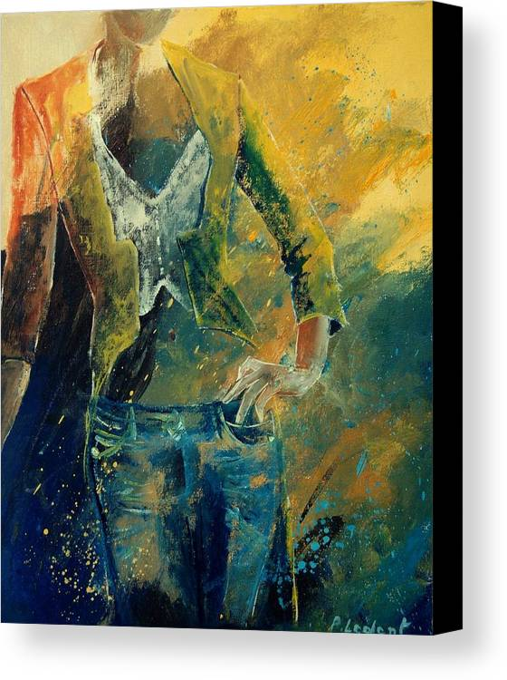 Woman Girl Fashion Canvas Print featuring the painting Dinner Jacket by Pol Ledent