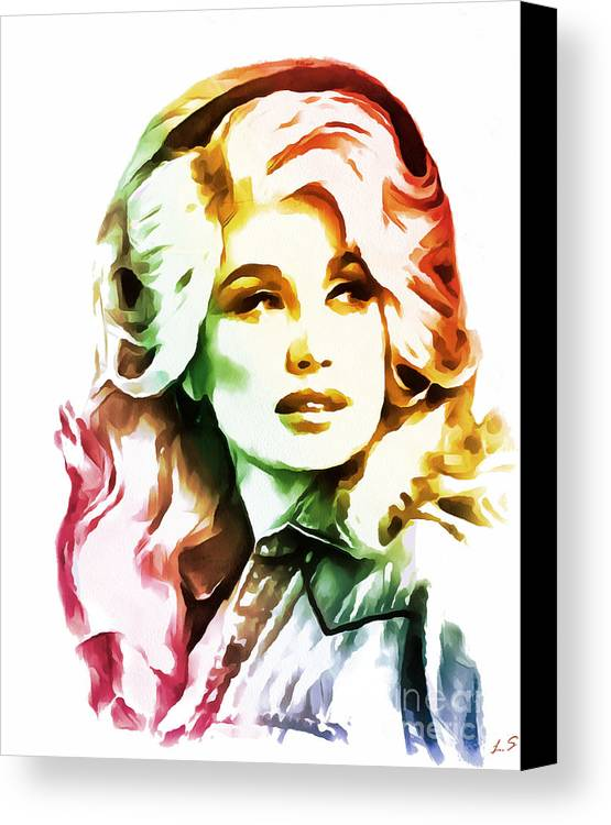 Dolly Parton Canvas Print featuring the painting Dolly Parton Collection - 1 by Sergey Lukashin