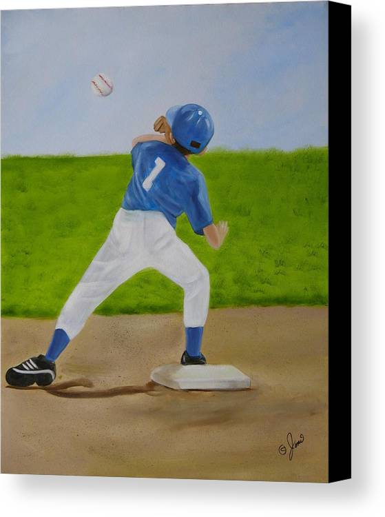 Sports Canvas Print featuring the painting Double Play by Joni McPherson