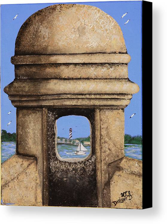 St. Augustine Lighthoue Canvas Print featuring the painting Double Sentry by Darlene Green