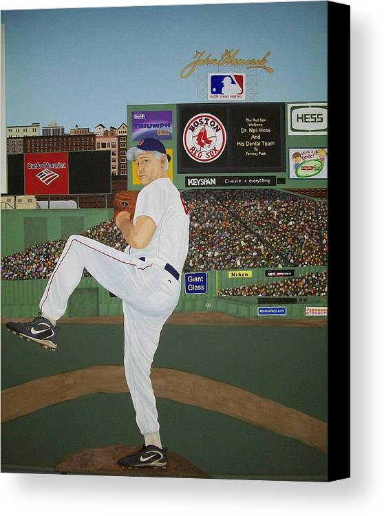Baseball Canvas Print featuring the painting Dr. Hoss by Sandra Poirier