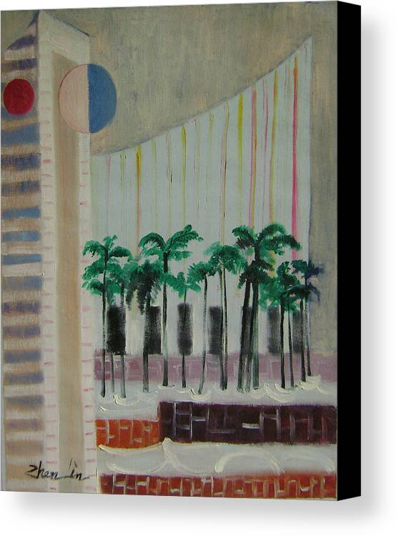 Abstract Canvas Print featuring the painting Dream City No.7 by Lian Zhen