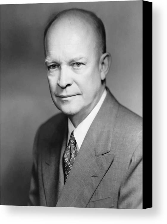Eisenhower Canvas Print featuring the painting Dwight Eisenhower by War Is Hell Store