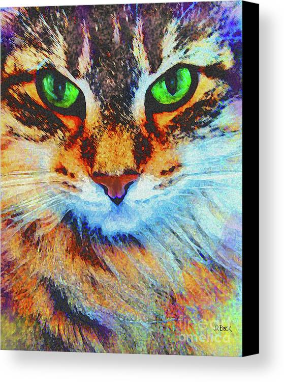 Emerald Gaze Canvas Print featuring the digital art Emerald Gaze by John Beck