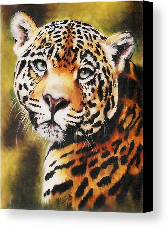 Jaguar Canvas Print featuring the pastel Enchantress by Barbara Keith