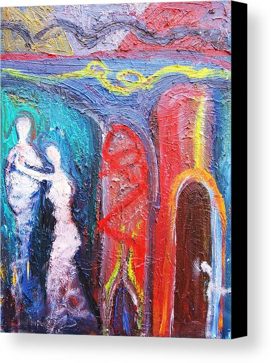 Oil Canvas Print featuring the painting Entre Vous by Ron Klotchman