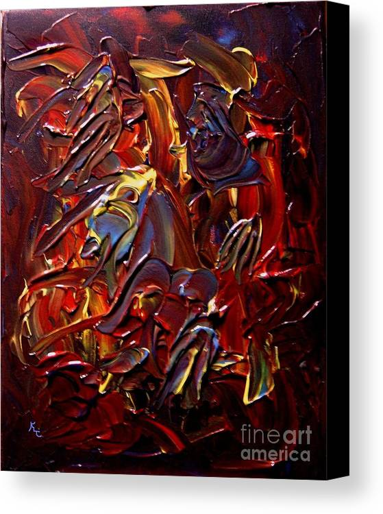 Faces Canvas Print featuring the painting Faces And Angels by Karen L Christophersen