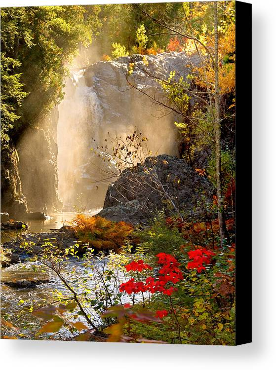 Fall Canvas Print featuring the photograph Fall Falls Mist Dead River Falls Marquette Mi by Michael Bessler