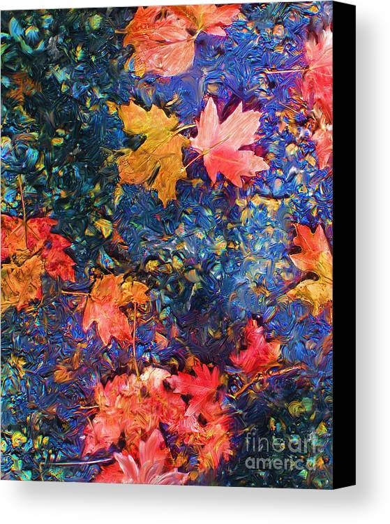 Fall Canvas Print featuring the mixed media Falling Blue Leave by Marilyn Sholin