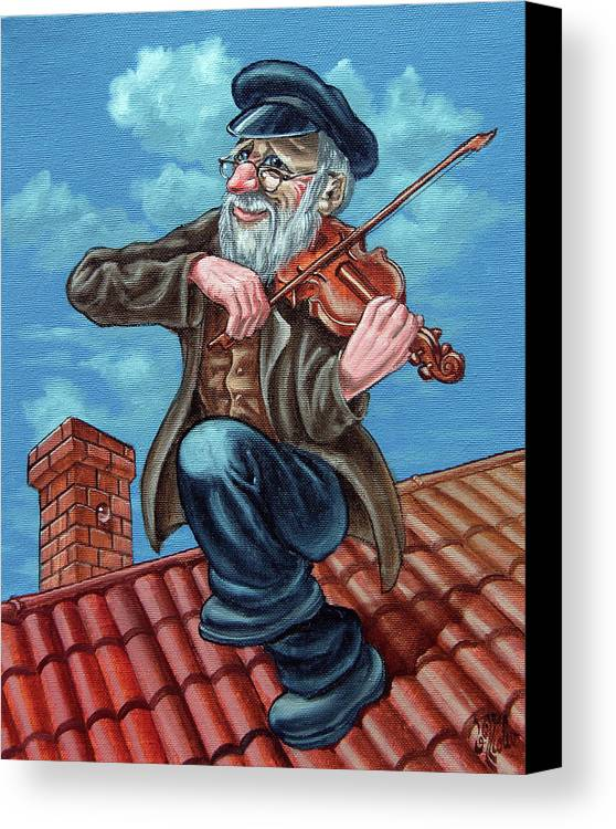 Violinist Canvas Print featuring the painting Fiddler On The Roof. Op2608 by Victor Molev