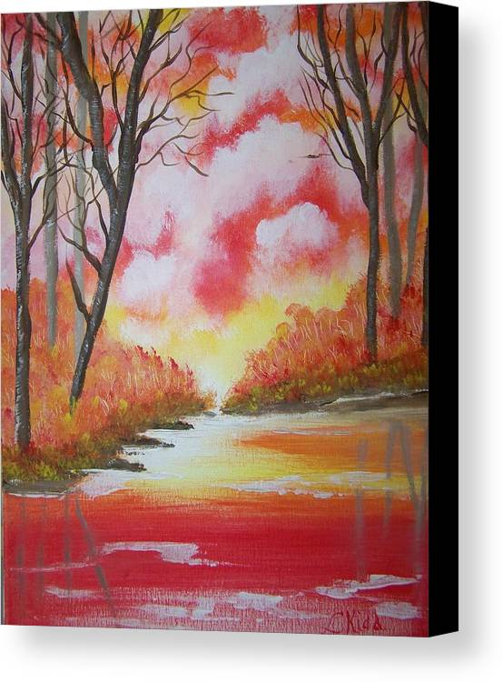 Lake Canvas Print featuring the painting Fire Of God by Laurie Kidd
