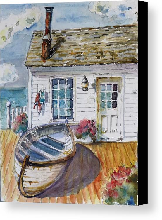 Cottage Canvas Print featuring the painting Fisherman's Cottage by P Maure Bausch