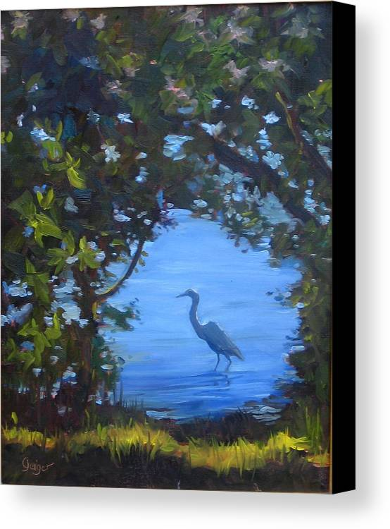 Seascape Canvas Print featuring the painting Fishing For Dinner by Pamela Geiger