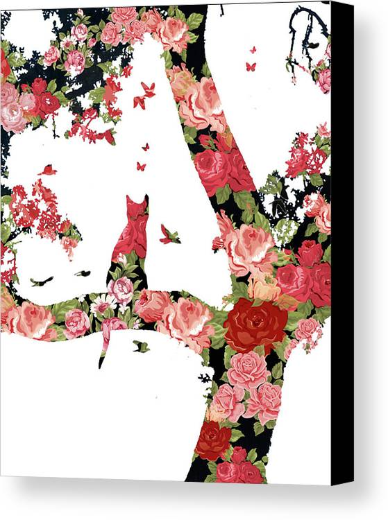 Floral Canvas Print featuring the photograph Floral Minimalist Style Cat, Tree And Birds by Stephanie Laird