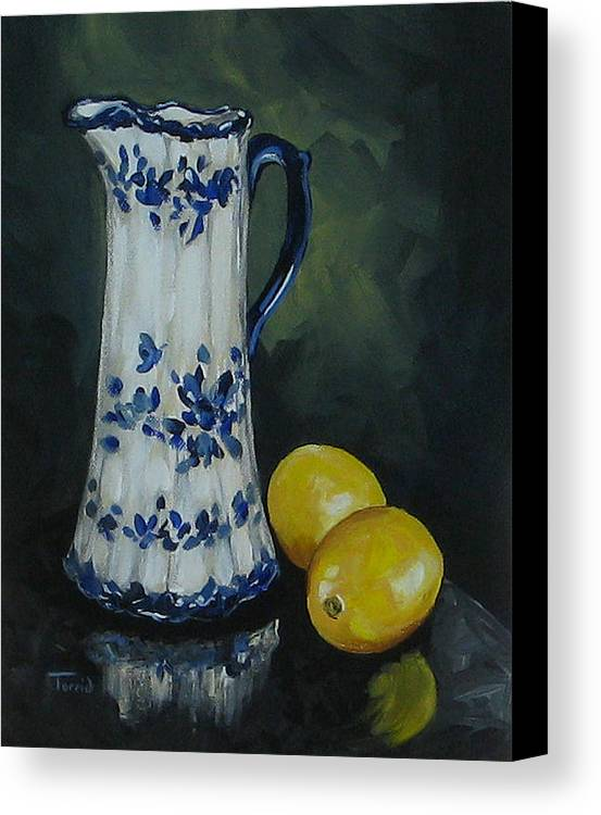 Flow Blue China Canvas Print featuring the painting Flow Blue And Lemons by Torrie Smiley