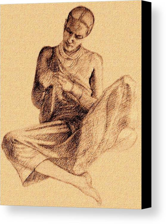 Tribal Lady Canvas Print featuring the drawing Flower Lady by Claudio Fiori