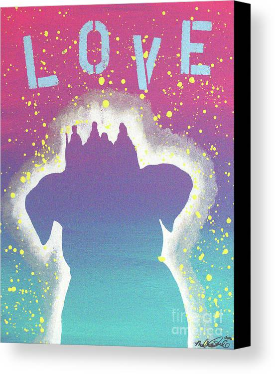 Acrylic Painting Canvas Print featuring the painting For The Love Of Pups by Melissa Goodrich