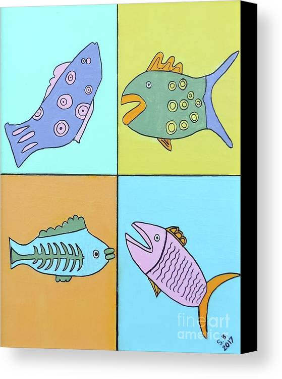 Sean Brushingham Canvas Print featuring the painting Four Fish by Artists With Autism Inc
