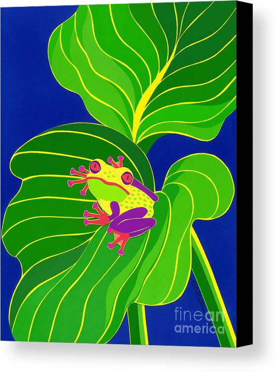 Nature Canvas Print featuring the drawing Frog On Leaf by Lucyna A M Green