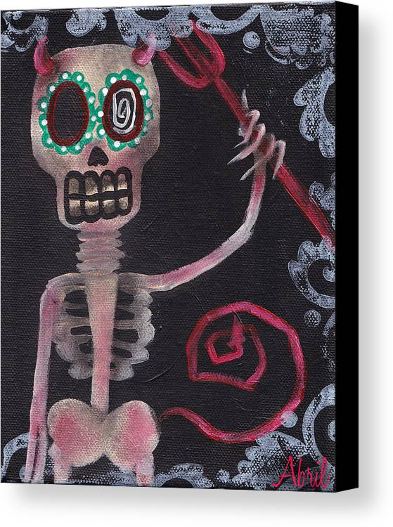 Day Of The Dead Canvas Print featuring the painting From Hell by Abril Andrade Griffith
