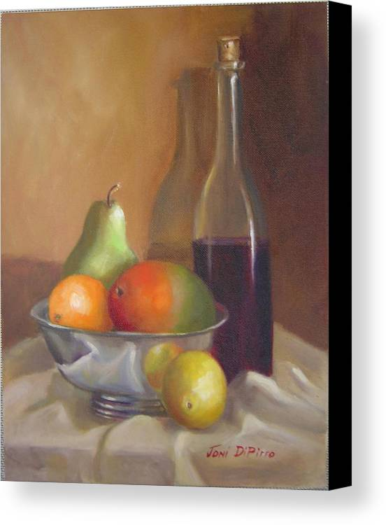 Still Life Canvas Print featuring the painting Fruit With Bottle Of Wine by Joni Dipirro