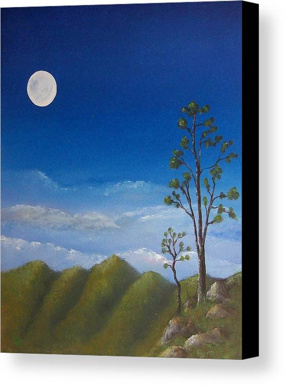 Landscape Canvas Print featuring the painting Full Moon by Tony Rodriguez