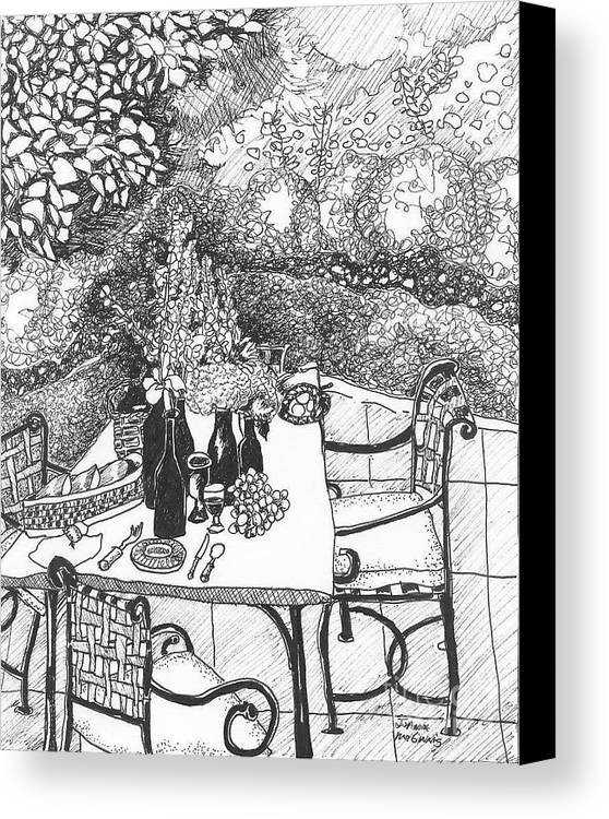 Still Life Canvas Print featuring the drawing Garden Table by Jo Anna McGinnis