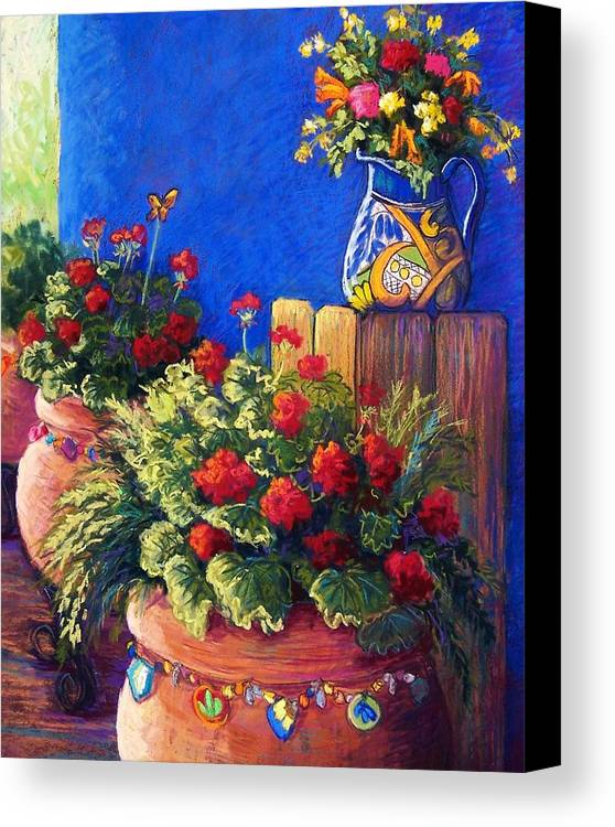 Garden Canvas Print featuring the pastel Geraniums And Talavera by Candy Mayer