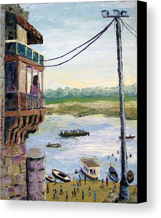 Ghats Canvas Print featuring the painting Ghats From Above by Art Nomad Sandra Hansen