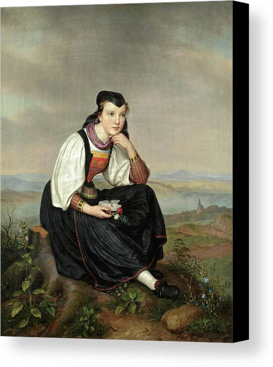 August Von Der Embde Canvas Print featuring the painting Girl From Hessen In Traditional Dress by August von der Embde