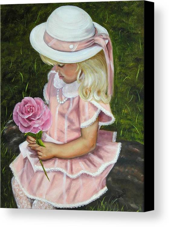 Girl Canvas Print featuring the painting Girl With Rose by Joni McPherson