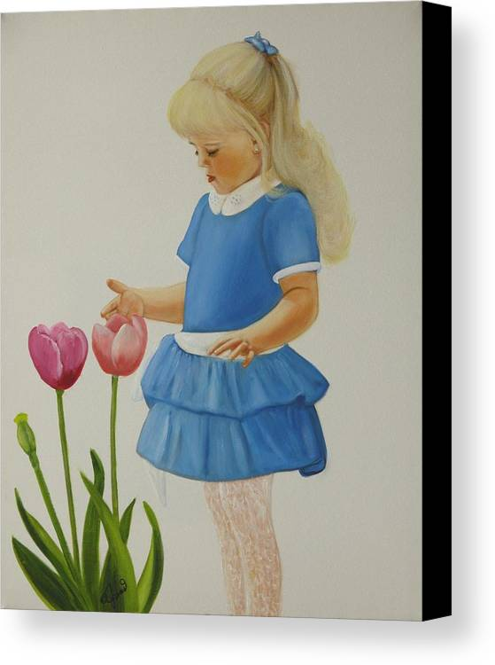 Portrait Canvas Print featuring the painting Girl With Tulips by Joni McPherson