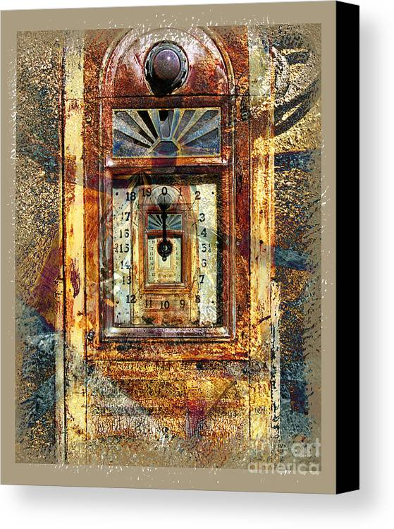 Gas Pump Canvas Print featuring the digital art Gold Mine Gas Pump by Chuck Brittenham